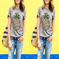 Summer Women's Fashion Short Sleeve Print Tops T-shirts [6343424385]
