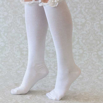 On Sale 15% Off White Boot Socks with Lace and Flower with Button – Lace Socks – Lace Trim Boot Socks – Women's Long over the Knee Boot Sock
