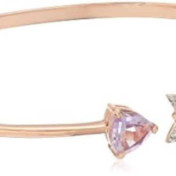 18k Rose Gold over Sterling Silver Pink Amethyst and Created White Sapphire Arrow Open Bangle Bracelet