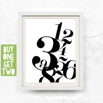Number print, Scandinavian modern print, Monochrome print, Modern numbers, Abstract wall art printable, Nordic print, 8x10, 11x14, 16x20