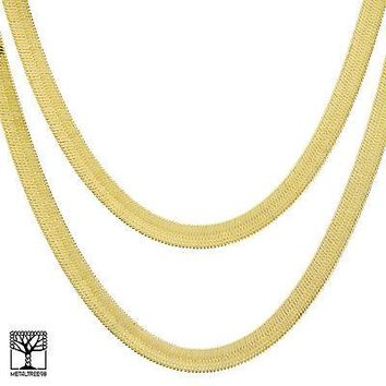 "Jewelry Kay style Men's Bling 14K Gold Plated 9 mm 20"" / 24"" Double Herringbone Chain Necklace"
