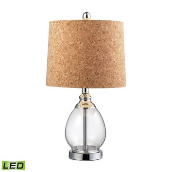 D142-LED Clear Glass LED Table Lamp in Polished Chrome