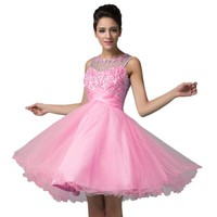 Grace Karin® Women's Pink Appliques Short Evening Prom Party Dresses CL6151-2