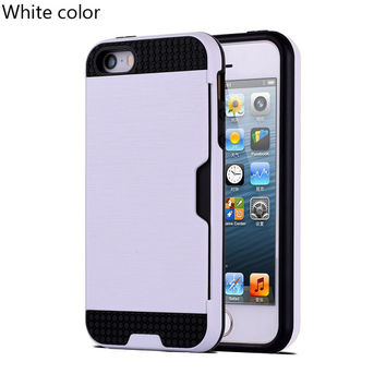 White Shock Proof Plastic TPU Hybrid Armor Card Holder Slot Silicone Phone Back Case Cover For Apple iPhone 7 7 Plus 6 Plus 6s Plus 6 6S 5 5S SE