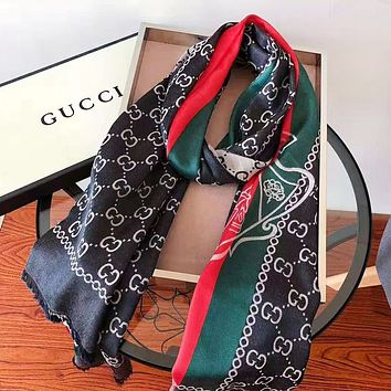 GUCCI Fashion New Stripe More Letter Print Scarf Women Black No Box