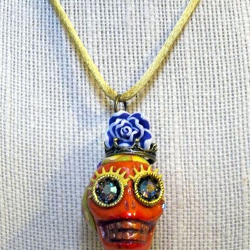 Day of the Dead Necklace,Día de Muertos Handmade, Orange Female Mexican Sugar Skull Pendant Necklace,  Posh Signatures lines, One Of A KInd