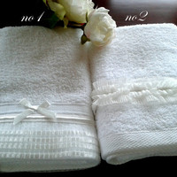 Personalized His and hers lace 3pcs towel set-shabby chic towel set-brital towel set 3pc - wedding gift - anniversary gift