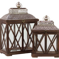 Classic & Traditional Wooden Lantern Set of Two in Antique Brown Finish w/ Crossed Wooden Panel Design