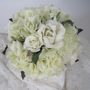 bridal bouquet ivory cream roses and hydrangea french knotted with gorgeous rhinestone brooch on front of - Garden Rose And Hydrangea Bouquet