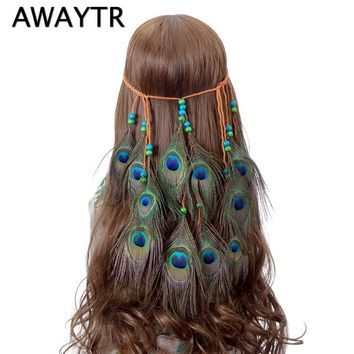 AWAYTR Feather Peacock Headband Native American Indian Artificial Feather Headband Braided Headbands Hair Accessories