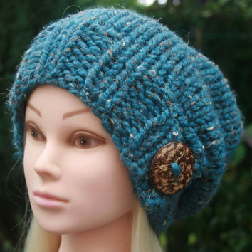 Hand Knit hat-Womens hat-slouchy-beanie hat with big natural coconut button- chunky winter hat- Available in 10 colors- Womens Accessories