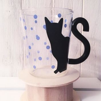 Black Cat Kitty Water Glass Cup