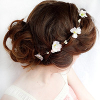 blush pink / white flower hair circlet  ARIELLE  by thehoneycomb
