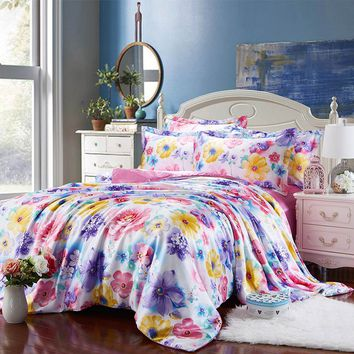 satin silk bedding set bed linens coverlets duvet covers sets twin full queen king size pink purple bright color flower girls