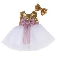Baby and Girls Dusty Rose and Gold Princess Dress with Headband