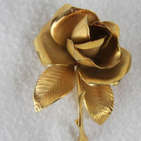 Cerrito Gold Color Rose Flower Brooch Pin Estate