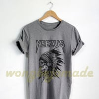 Yeezus Shirt Yeezus Indian Skull T Shirt Black Grey and White Color Unisex Size Tshirt
