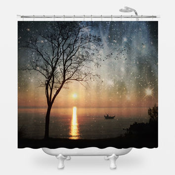 Fishing Morning Shower Curtain