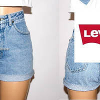 Levi High Waisted Denim Shorts, Authentic Levi's High Waisted Shorts,  Levi's Plus Size Shorts, Vintage High Waisted Levi Shorts, Hipster