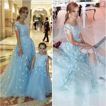 New Fashion Prom Dress 2017 Vestidos de Baile Appliques 2 Pieces Mother Daughter Prom Gown Evening Party Vestidos de Formatura
