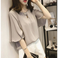 Womens Business Casual Wide Sleeve Blouse