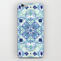Navy Blue, Green & Cream Detailed Lace Doodle Pattern iPhone & iPod Skin by Micklyn