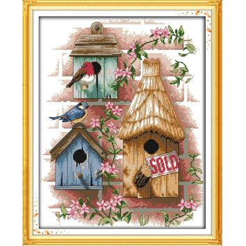 DIY Handmade Needlework Counted Cross Stitch Set Embroidery Kit 14CT Log Cabin