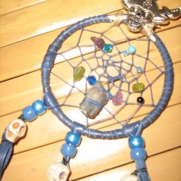 Blue Pirate dreamcatcher with Skulls, native woven with designer leather,feathers,beads blue,gems in Turquoise,Peridot,Amethyst,Smoky Quartz