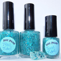 Handmade Nail Polish -  Teal Tidal - Large 15ml  bottle - SUPER glitter - Holographic