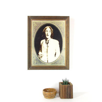 70s John Lennon Framed Mirror -- Wall Art -- Vintage Carnival Mirror-- Sepia Tone Hanging Portrait in Rustic Wood Frame