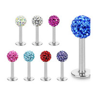 Body Jewelry Tragus Earring 20pcs/lot Mix 10 Colors Shamballa Ball CZ Gem Disco 3.5mm Body Jewelry Lip Ring Labret Piercing