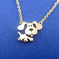 Cute Cartoon Blue's Clues Beagle Dog Shaped Pendant Necklace in Gold