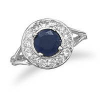 Faceted Rough-Cut Sapphire Ring with Cubic Zirconia Edge