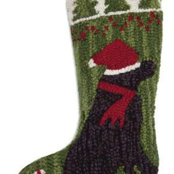 "17"" Christmas Stocking with Black Lab in Santa Hat"