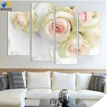 4pcs Print canvas Wall Art Beautiful roses cuadros Decoration oil painting Modular pictures on the hall wall no frame H121