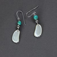 Carved MOP Feet Earrings w Turquoise Beautiful Dainty Feet Hand Carved in Bali of Mother of Pearl Jewelry