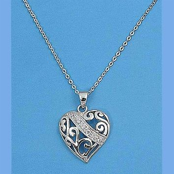 Sterling Silver and CZ Cut Out Heart Necklace