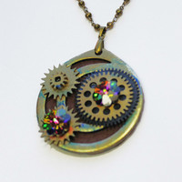 Steampunk Jewelry, Watch Parts Pendant, Brass Bead Chain, Vintage Parts, Swarovski Crystal Accent, Holloween Gift,  Pendant Necklace, Gift