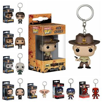28 patterns Funko POP Harry Potter Keychain Hermione Granger Lord Voldemort toy Figure Deadpool Captain America The Walking Dead