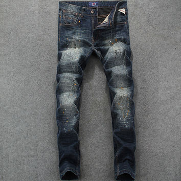 Italian Designer Men Jeans Slim Fit Denim Destroyed Ripped Jeans Mens Pants Vintage Dirty Process Brand Stripe Jeans Full Length