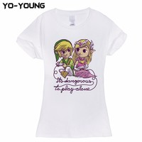 Funny Zelda It's Dangerous To Play Alone T-Shirts Women 100% Cotton White Female Top Tees Camisa Customized