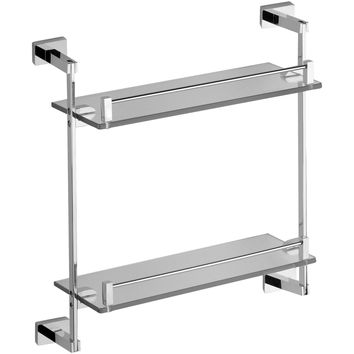 DI NY Wall Mounting Double Glass Storage Shelf Towel Rack Organizer Brass Chrome