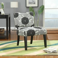 Big flowers patterned fabric upholstery armless side accent chair