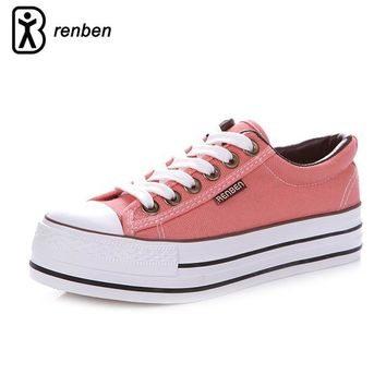 Fashion Online Renben Canvas Platform Casual Shoes Women Fashion Breathable Pink Pump Female Shoes Woman Durable Oxford Footwear Zapatos Mujer