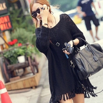 Autumn Winter Women's Korean Long Knitting Outerwear Loose Sweater Dress = 1946127748