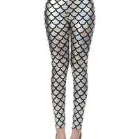Silver Mermaid Fish Scale High Waist Leather Leggings