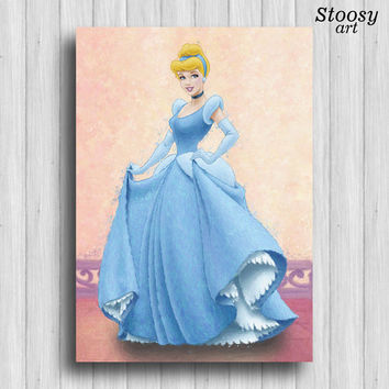 cinderella disney princess print girls art decor princess room