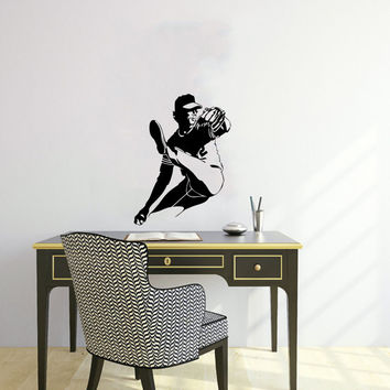 Vinyl Decal Sport Sportsman Baseball Players Home Wall Decor Stylish Sticker Mural Unique Design Children Kids for Any Room V646
