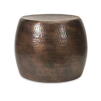 Contemporary Living Room Ideas - Hammered Metel Drum Short Accent Table  | Free Shipping