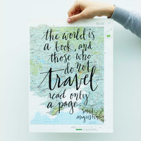 Travel Quote Screen Print on Vintage Atlas Page